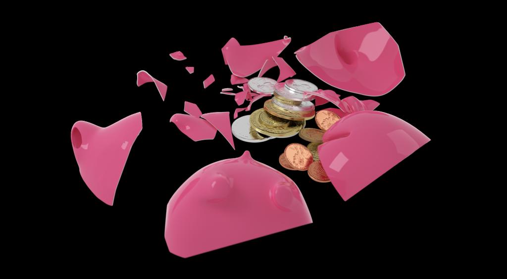 Zerschlagenes Sparschwein