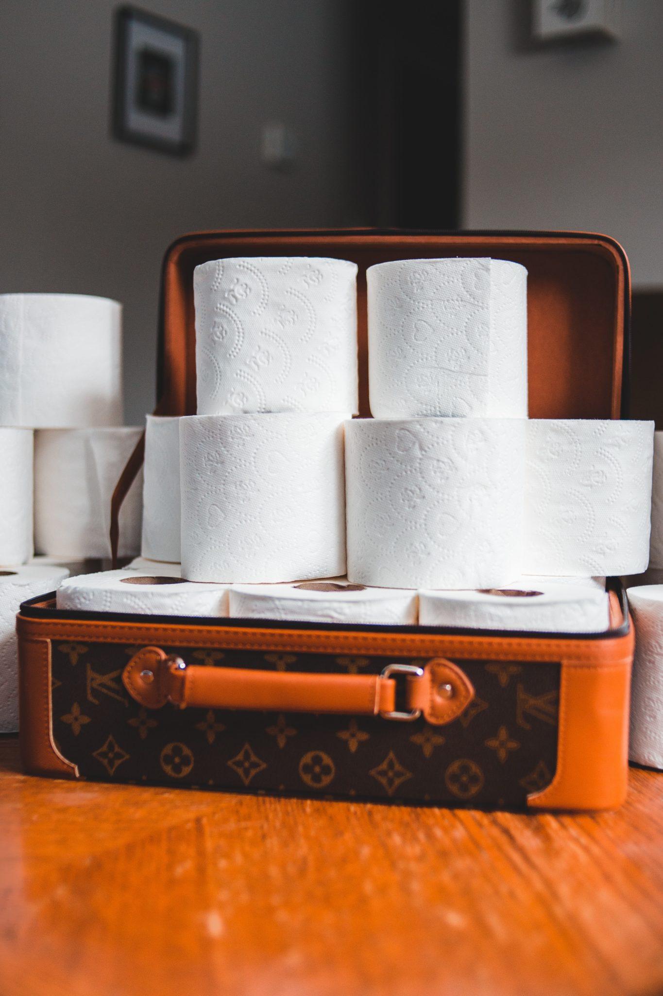 Toilettenpapierrollen in einem Koffer