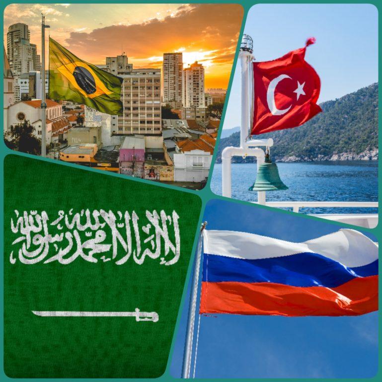 Brasilien, Türkei, Saudi-Arabien, Russland