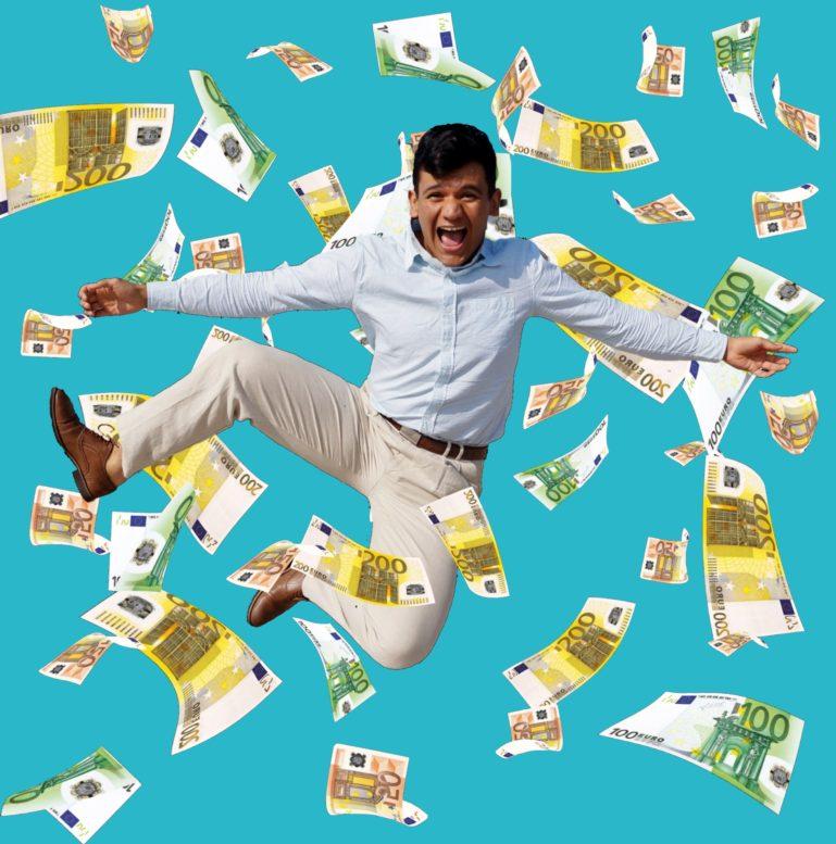 Mann im Geldregen