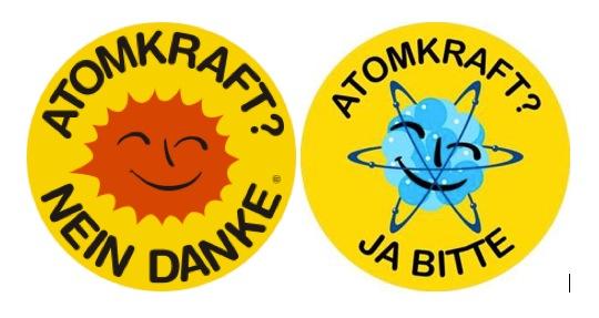 Anti-Atomkraft Logo und Logo der Gegenbewegung